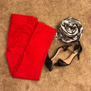 Like New Red Marisa Skinny Loft Pants